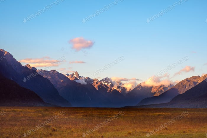 Landscape view of Eglinton valley on the way to Milford Sound, New Zealand