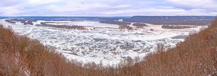 Frozen River Confluence Panorama in Winter