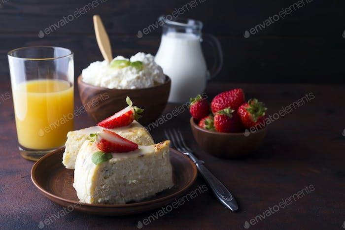 Breakfast table with healthy tasty ingredients.