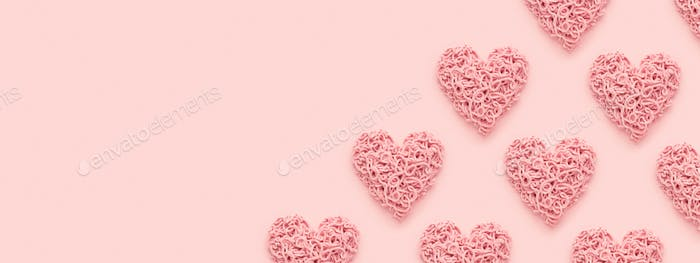 Valentine's Day Banner with Hearts on Pink Background, Copy Space.