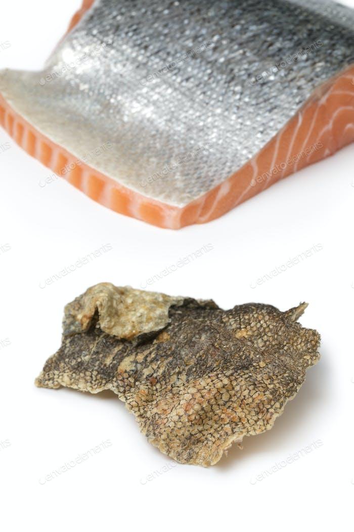Crispy baked and seasoned salmon skin
