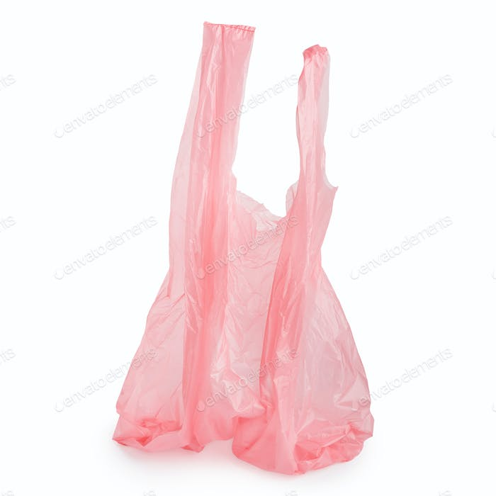 Crumpled plastic bag on white