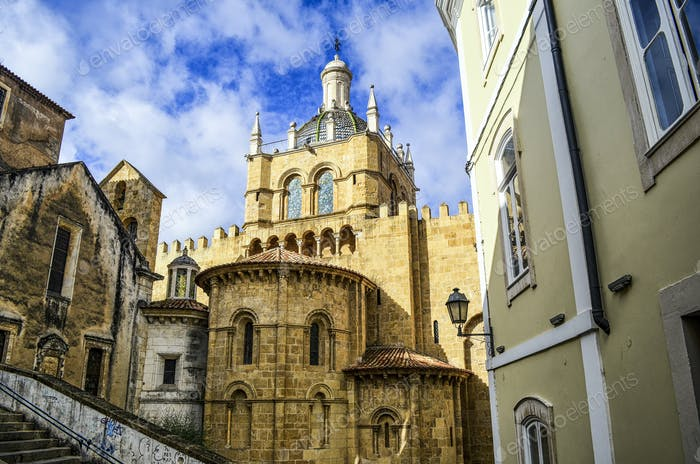 Exterior view of the old Romanesque cathedral, Coimbra, Portugal.