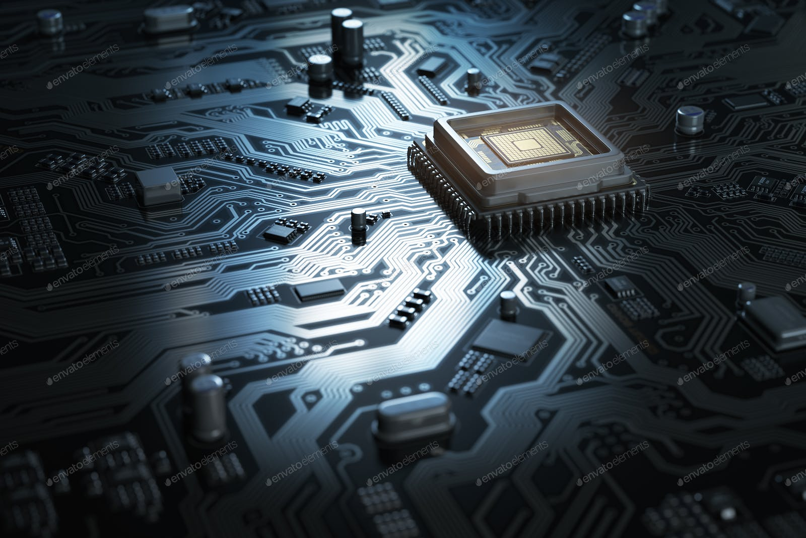 Computer Motherboard With Cpu Circuit Board System Chip Co Graphic Of Technological Theme And Photo By Maxxyustas On Envato Elements