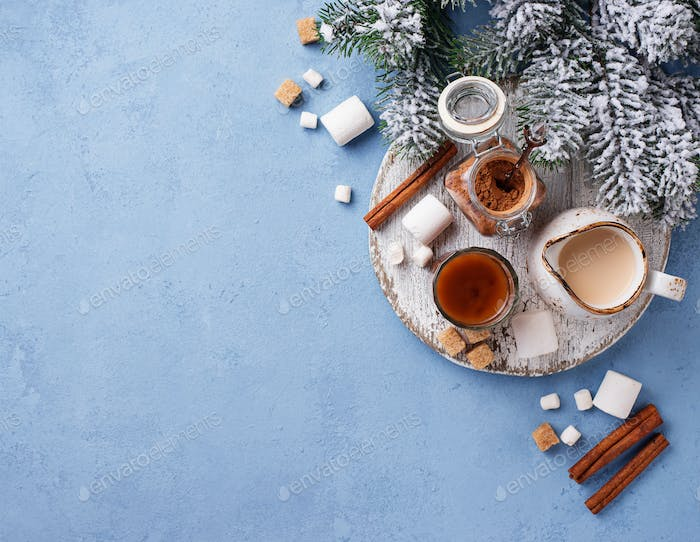 Ingredients for cooking hot chocolate or cocoa