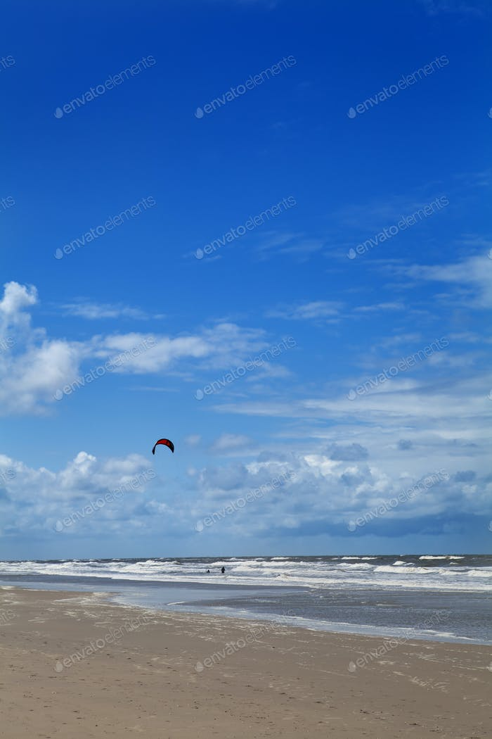 kitesurfing on the sand beach