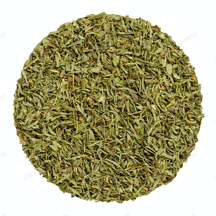 Dried savory, herb circle from above, over white