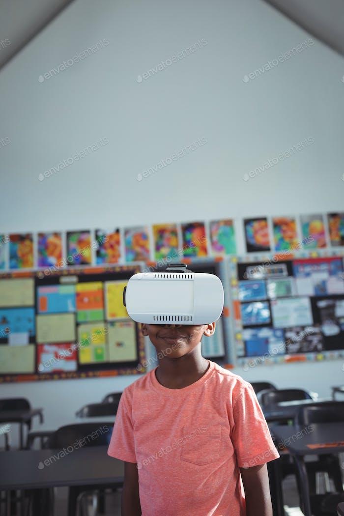 Boy with virtual reality simulator
