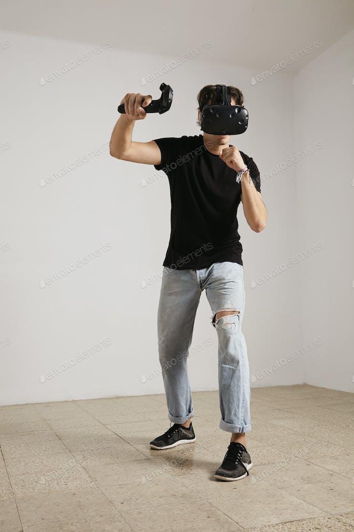 Fighting in VR glasses