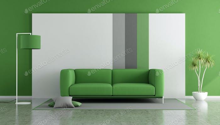 Green sofa in a modern lounge