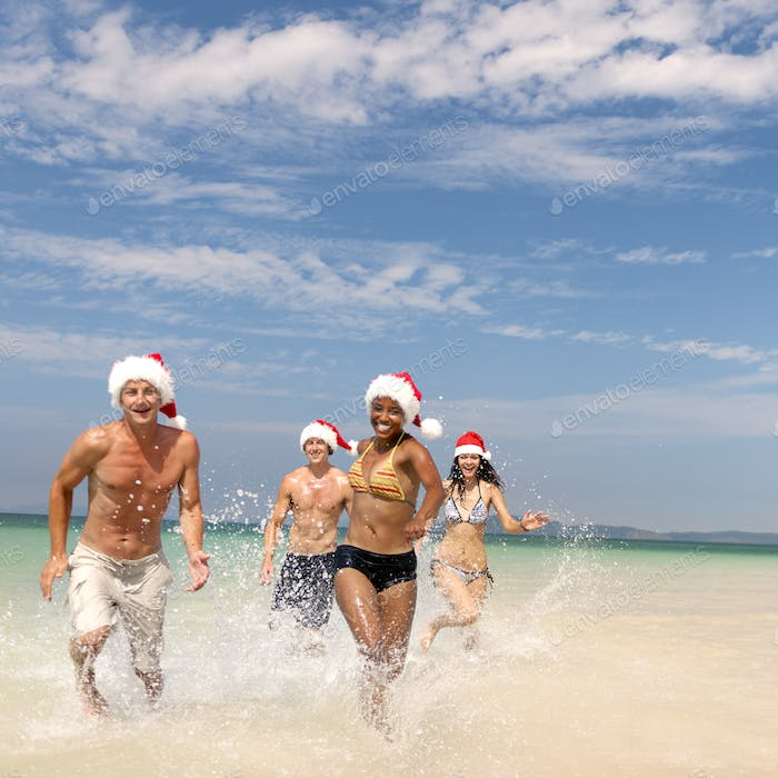 Christmas Santa Hat Vacation Travel Beach Concept
