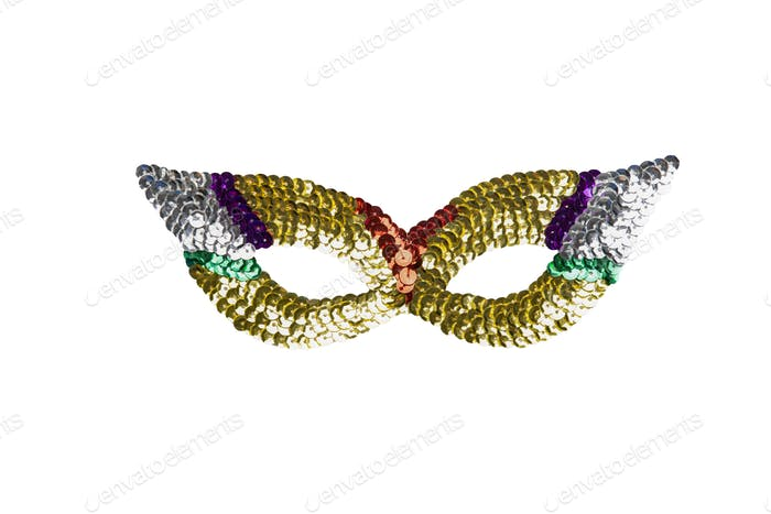 Multicolour fancy carnival mask with beads isolated on a white background
