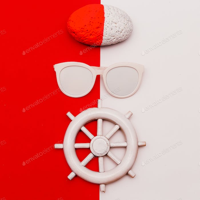 Marine style. Minimal design. Fashion accessories. Sunglasses