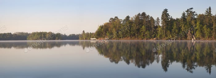 Early Morning Panorama of a Typical Northern Minnesota Lake and Shoreline