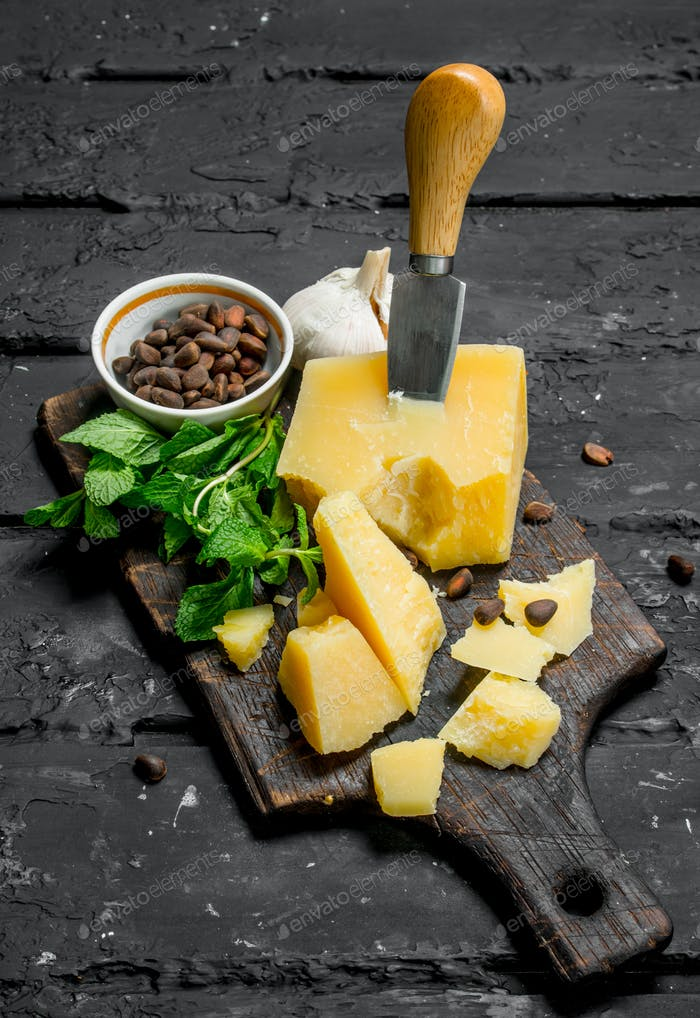 Parmesan cheese with garlic, pine nuts and mint leaves.