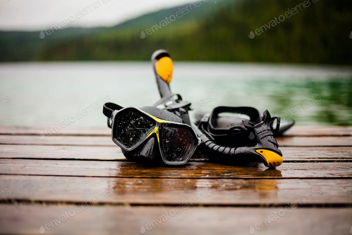 Snorkeling Mask and Tuba on Dock
