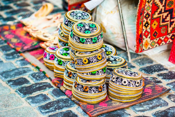 Azerbaijan old style hats on a local market