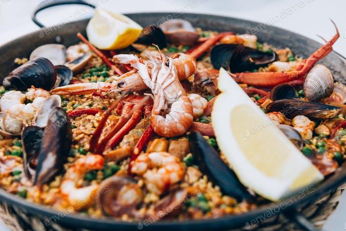 Seafood paella in the frying pan