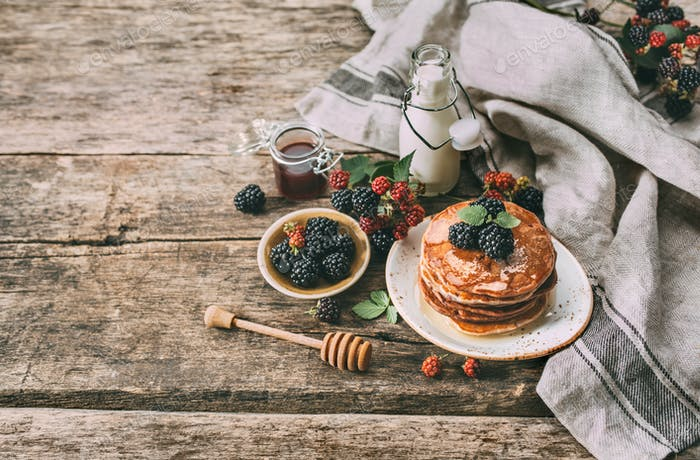 Homemade pancakes with blackberry