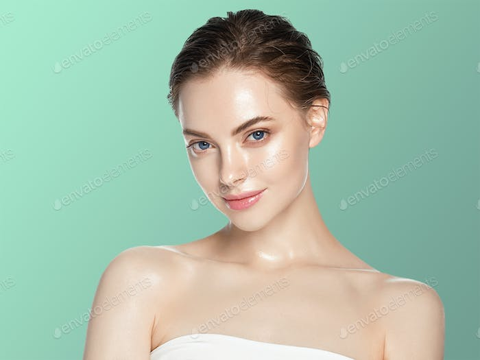 Woman cosmetic closeup beauty portrait, healthy care skin hair over blue color background