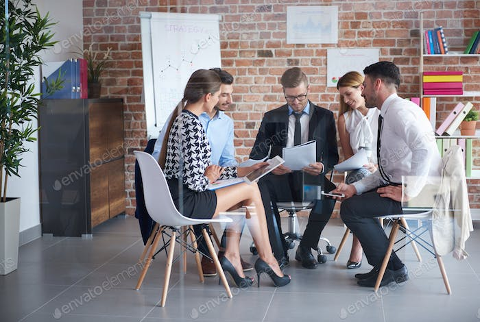 Sitting in the circle while business meeting