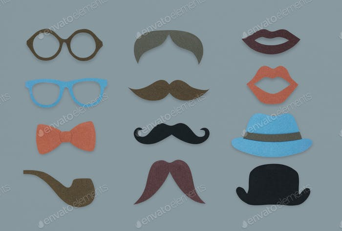 Brille Pfeife Schnurrbart Hut Lippenstift Marken Hipster Mix