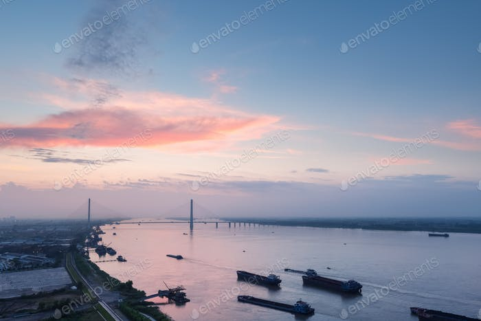jiujiang cable-stayed bridge at dusk