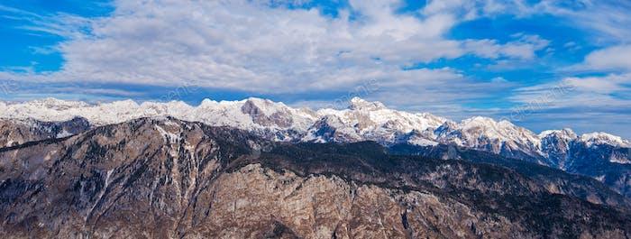 Triglav mountain above Bohinj lake valley in winter time
