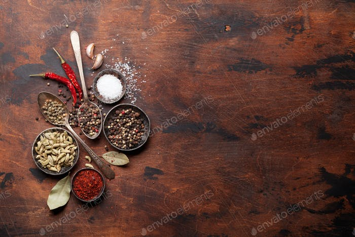 Set of various spices and herbs
