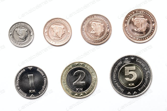Coins from Bosnia and Herzegovina on a white background