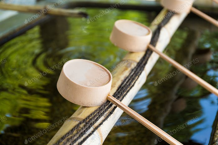 Japanese Purification Fountain in Shinto Temple