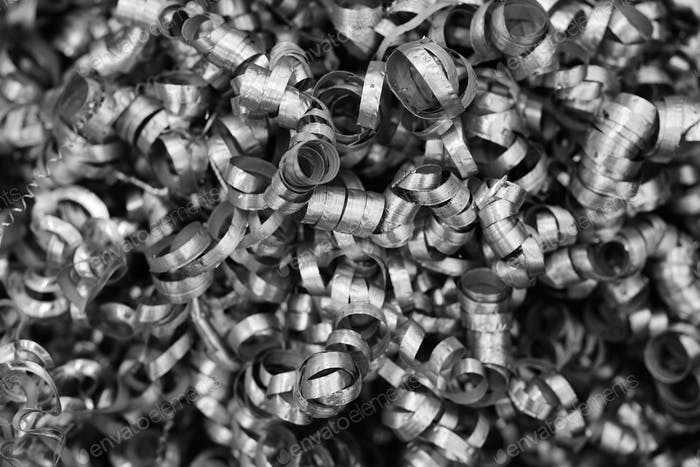 Metal shavings. Black and white image