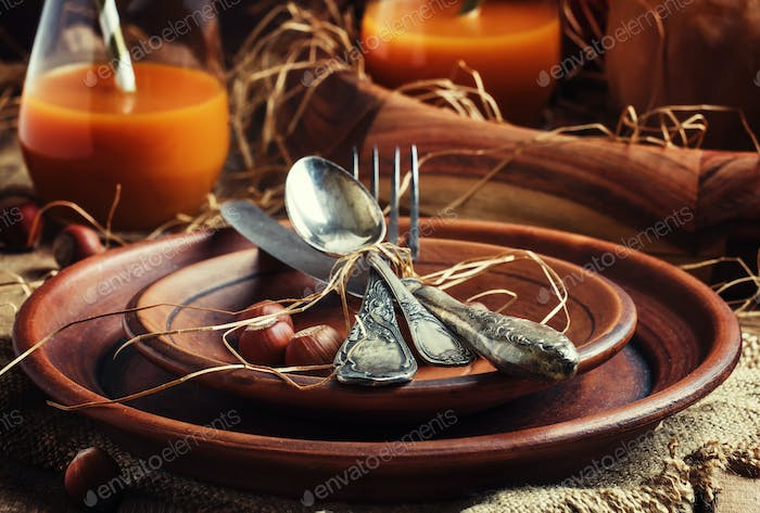 Rustic table setting for Thanksgiving Day