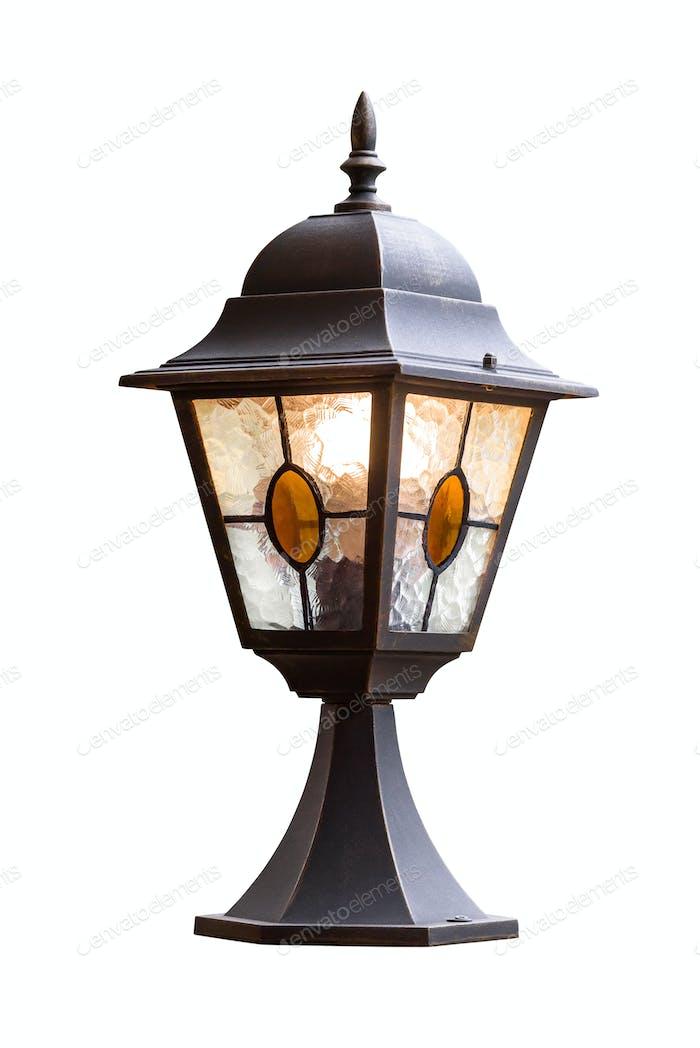 Gartenlampe isoliert auf weißem Hintergrund