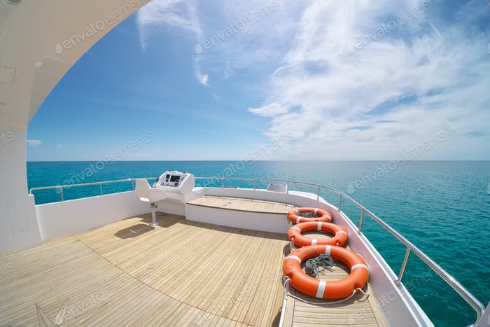 Ocean calm water view at day from yacht flybridge
