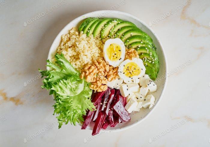 Buddha bowl, balanced food, vegetarian menu.