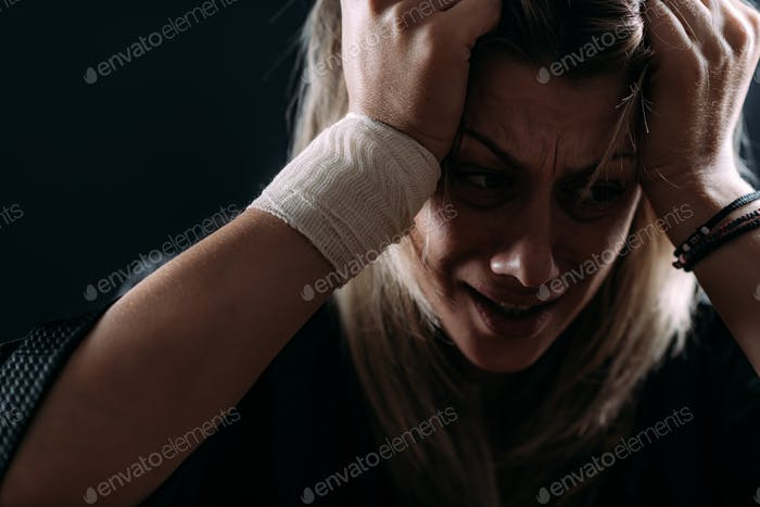 Portrait of Woman with PTSD - Post Traumatic Stress Disorder after Covid19.