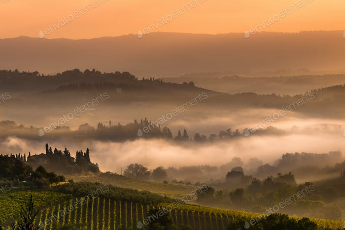 Tuscan Village Landscape on a Foggy Morning