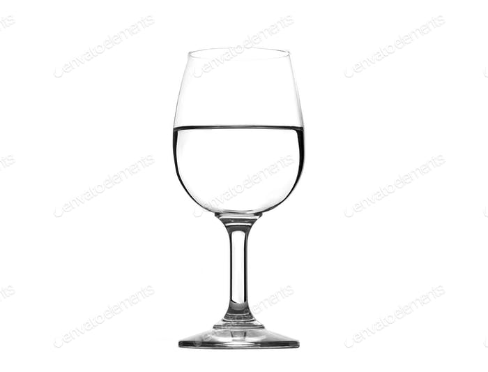 water on glass isolated on white background