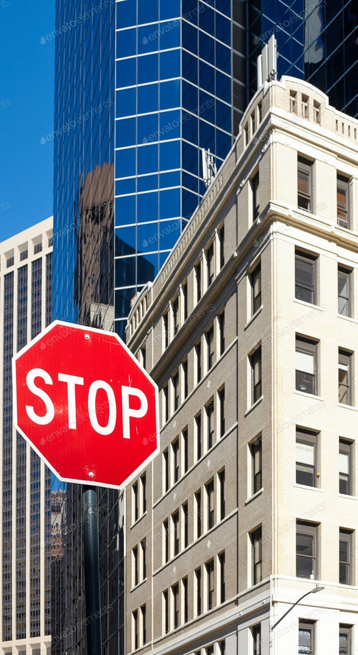 Stop sign on a street of New York City.