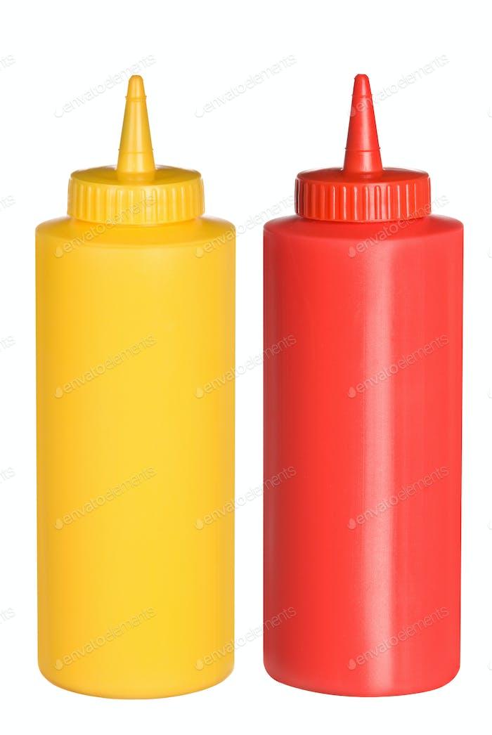 Ketchup und Senf Squeeze Flaschen