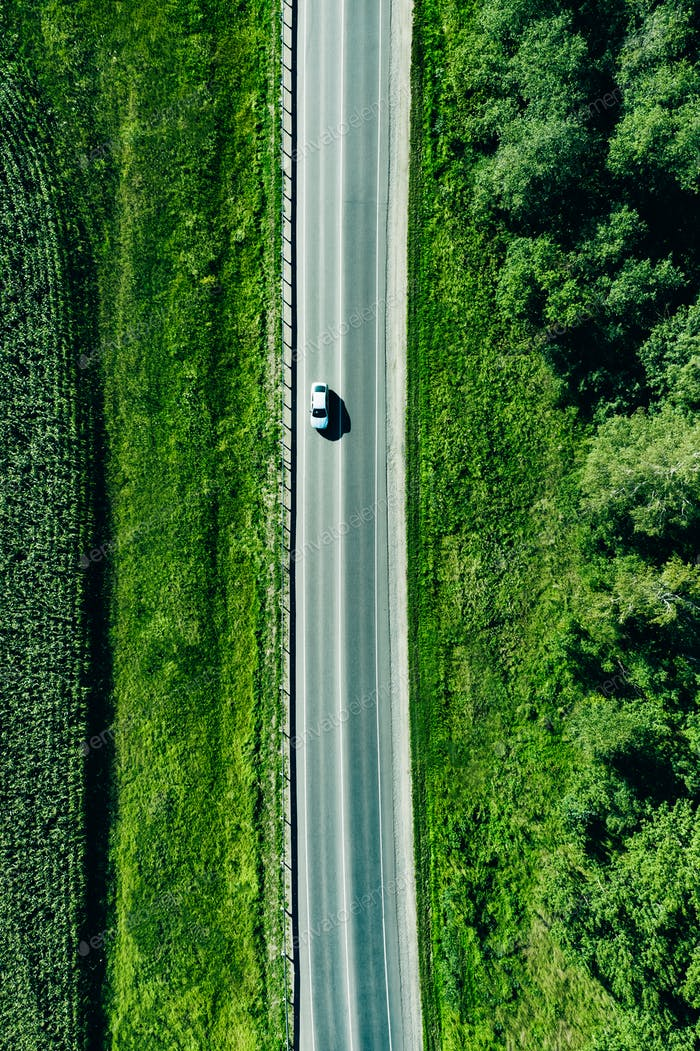 Aerial top view of a asphalt road with a car through  green forest and corn field