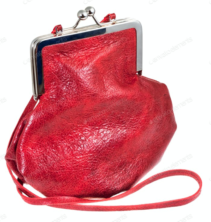 small old-fashioned red leather lady's bag