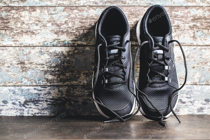 Black sport shoes.
