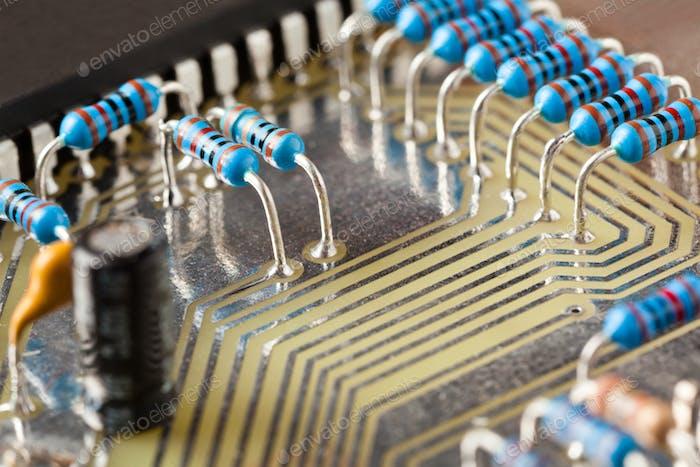 Closeup electronic circuit board with microcircuit