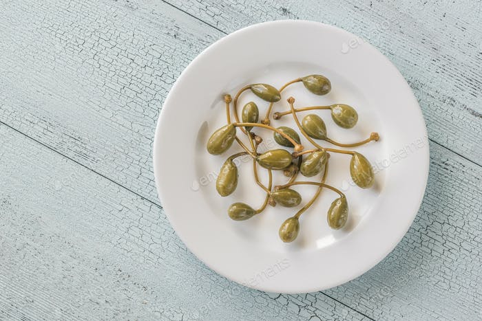 Capers on the plate