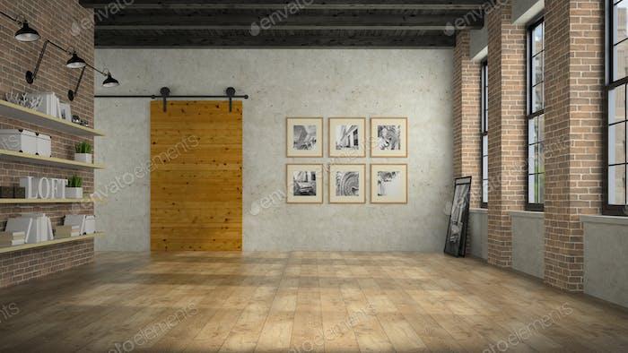 Empty loft room with wooden door 3D rendering 2
