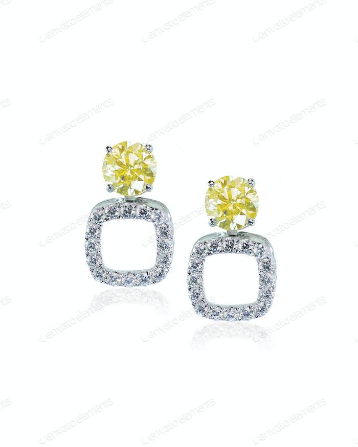 Yellow diamond citrine topaz stud earrings pair