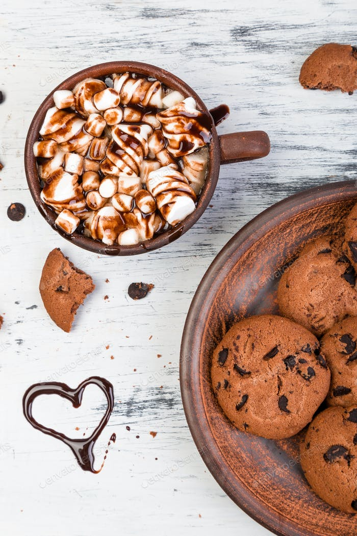 Hot chocolate with marshmallow and chocolate cookies. Love. Heart. Valentine Day.