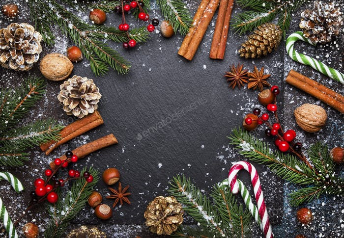 Christmas or New Year dark background, frame, template, with festive decorations